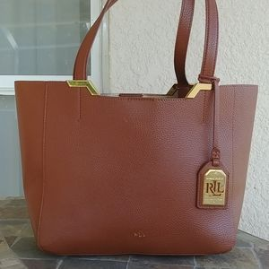 Lauren Ralph Lauren Camel Leather shopper tote